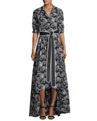 Ladda Belted Swirl-Embroidered High-Low Dress