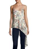 Genie Floral-Print Asymmetric-Hem Silk Tank