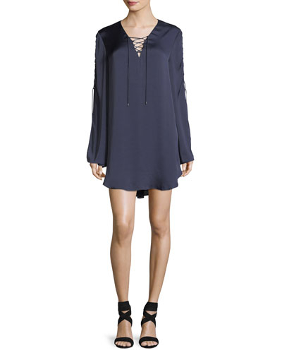 Caravan Lace-Up Long-Sleeve Satin Shift Dress