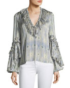 Zahara V-Neck Ruffled Printed Blouse