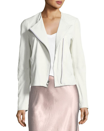 Modesens White Cross Front In Leather Lamb Vince Jacket zxf7q0xw