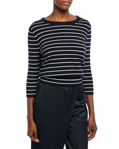 Striped Cashmere Self-Tie Back Shirt