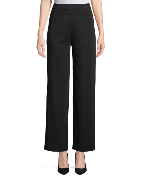 Misook Petite Wide-Leg Knit Pull-On Pants