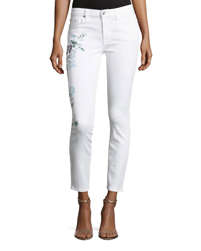 Skinny-Leg Ankle Jeans with Hand-Painted Floral