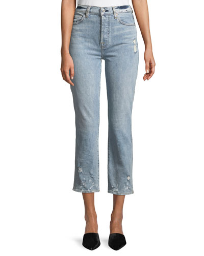 Edie Distressed Bleached Denim Straight-Leg Jeans