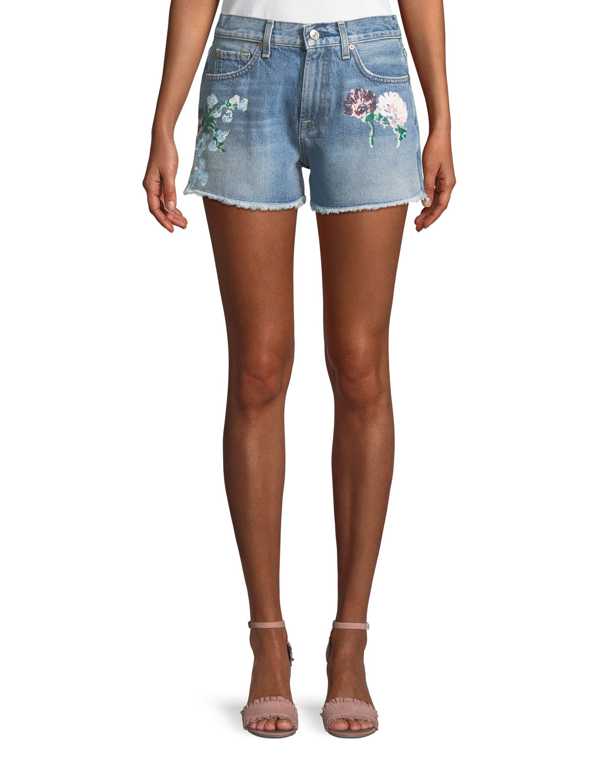 Cutoff Floral-Painted Denim Shorts