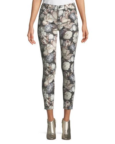 Floral-Print Skinny-Leg Ankle Jeans