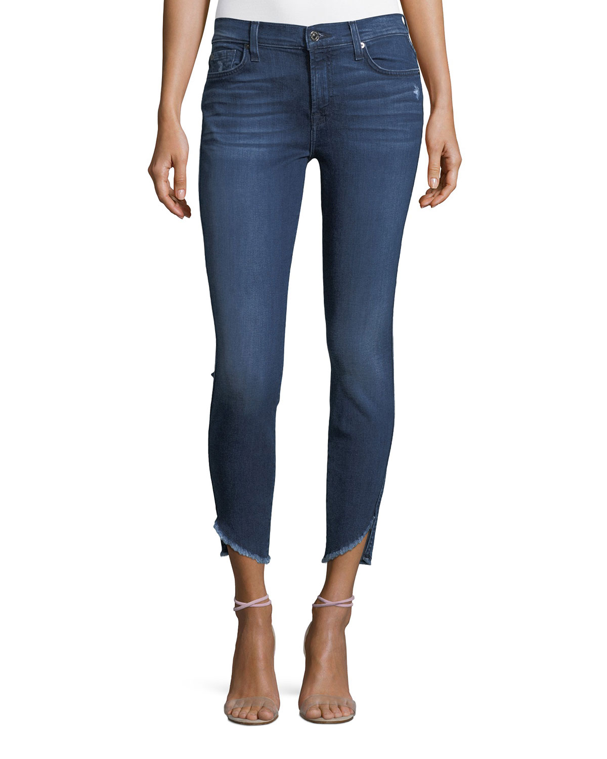 Skinny-Leg Ankle Jeans with Raw Angled Hem