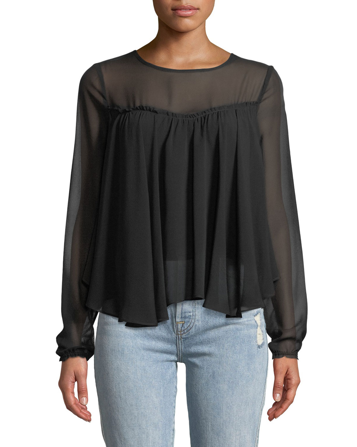 Gathered-Front Illusion Silk Blouse