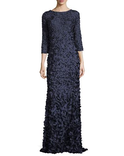 3D Petal Floor-Length Column Gown