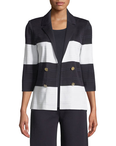 Striped Notch-Lapel Jacket