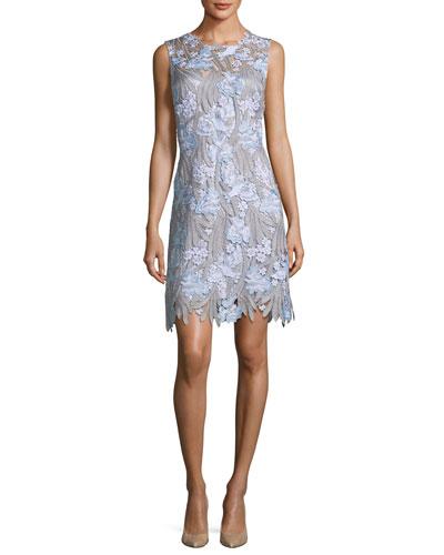 Tallulah Floral-Appliqué Sleeveless Dress