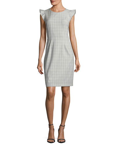 Stefana Micro-Plaid Cap-Sleeve Dress