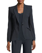 Allegra One-Button Fluid Crepe Jacket
