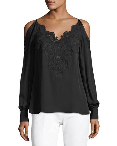 Paisley Cold-Shoulder Silk Blouse