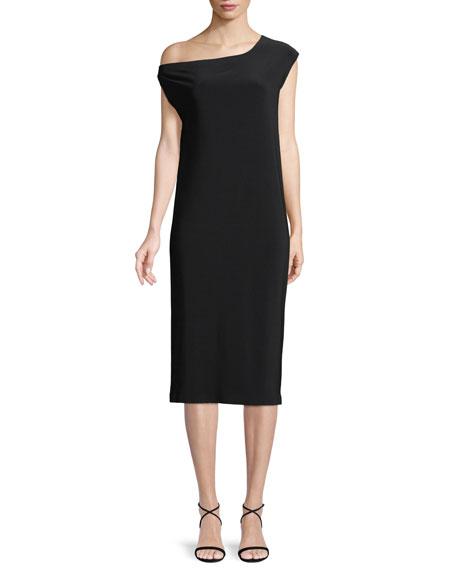 Norma Kamali Short-Sleeve Drop-Shoulder Midi Dress