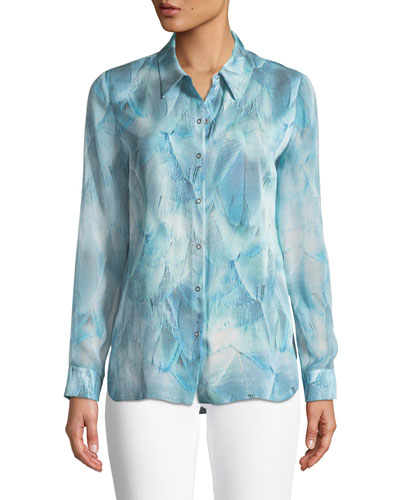 Martha Feather-Print Silk Blouse