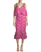 Lapenna 3D Floral Lace Cold-Shoulder Cocktail Dress