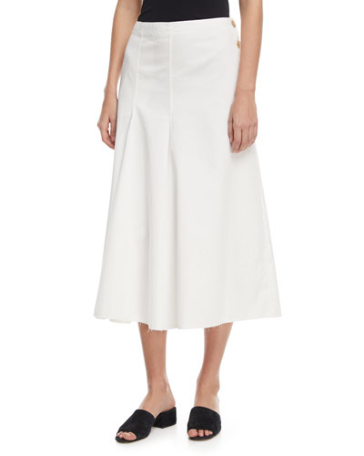Smith Side-Button A-line Chino Skirt