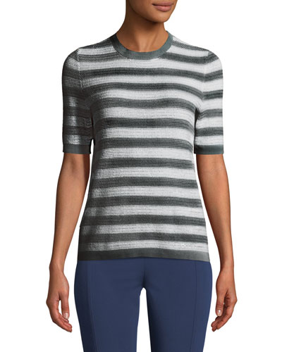 Striped Short-Sleeve Cotton Sweater