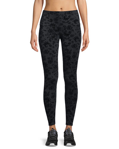 High-Rise Flocked Leggings, Black