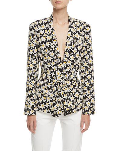 Alex Daffodil-Print Belted Silk Jacket