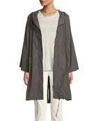 Hooded Organic Cotton/Nylon Anorak Jacket