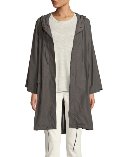 Hooded Organic Cotton/Nylon Anorak Jacket, Petite
