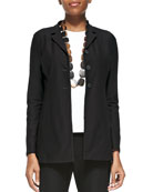 Washable-Crepe Long Jacket, Plus Size