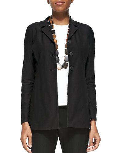 Washable-Crepe Long Jacket, Plus Size
