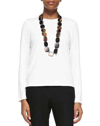 Long-Sleeve Silk Crewneck Tee, White, Plus Size