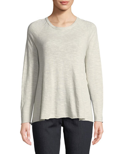 Organic Linen-Blend Side-Slit Top, Petite
