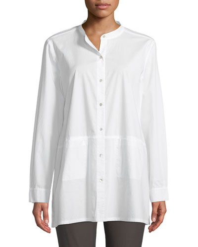 Band-Collar Cotton-Lawn Shirt