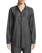 Denim Long-Sleeve Tunic, Plus Size