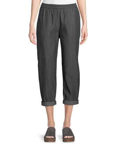 Denim Tapered-Leg Cropped Pants, Plus Size