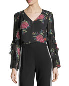Margarita V-Neck Floral Silk Top