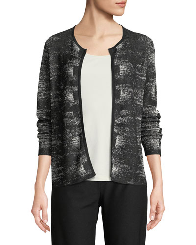 Graphic-Knit Linen-Blend Cardigan, Petite