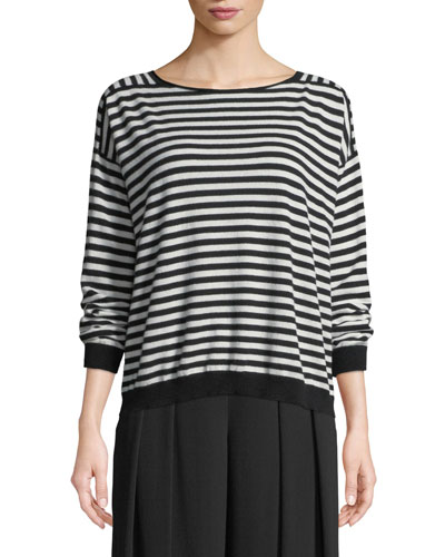 Seamless Seasonless Striped Italian Cashmere Top