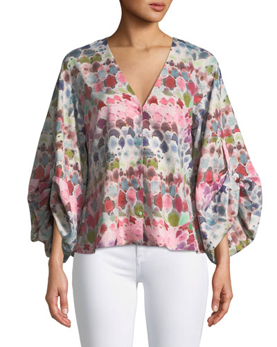 Charlie V-Neck Watercolor-Print Silk Crepe Top