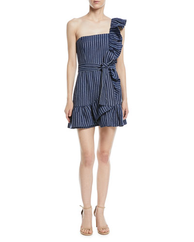 Konner One-Shoulder Striped Mini Dress