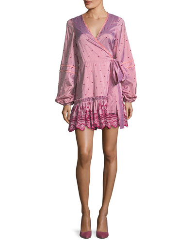 Alzena Gingham-Print Cotton Dobby Wrap Dress