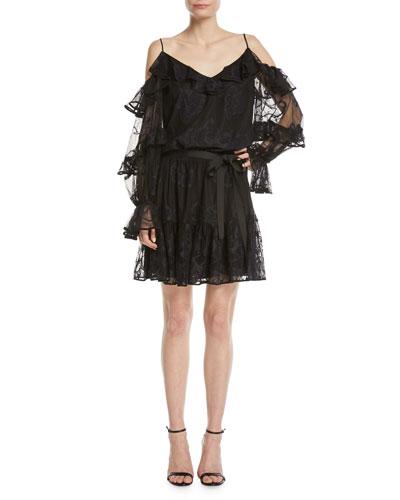 Magna Tiered-Sleeve Cold-Shoulder Floral Lace Dress