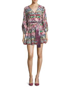 Damiana Button-Front Printed Mini Dress with Sash Belt