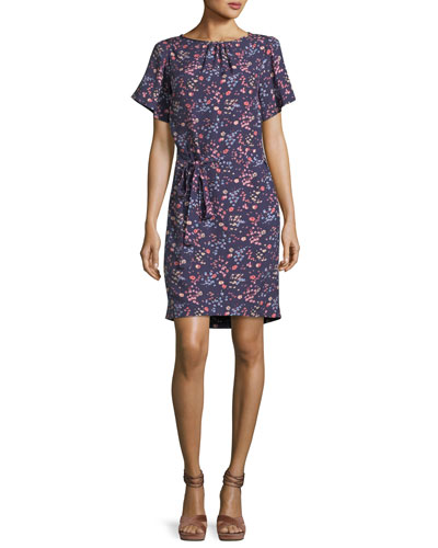 Woodlands Short-Sleeve Floral-Print Dress