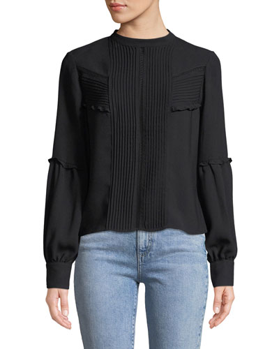 Barret Pleated-Front Long-Sleeve Button-Back Top