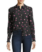 Floriana Button-Front Long-Sleeve Silk Blouse