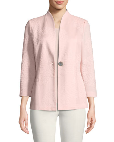 Textured One-Button Jacket, Petite