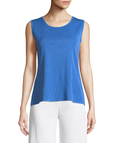 Classic Solid Knit Tank, Cerulean Blue, Plus Size