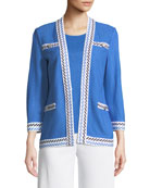 Contrast-Trim Textured Jacket, Petite