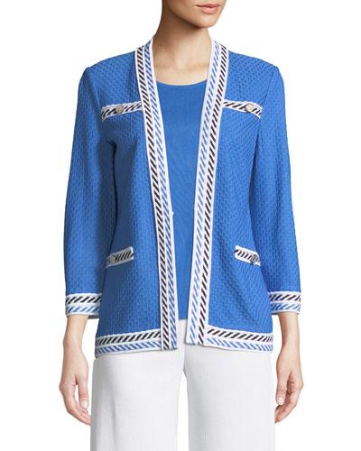 Contrast-Trim Textured Jacket